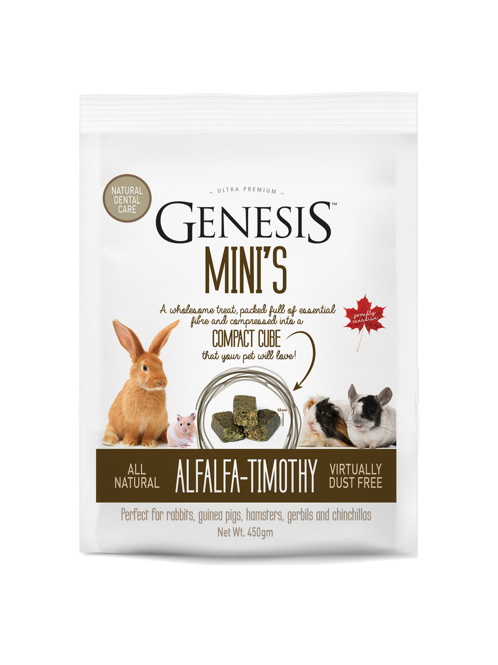 Genesis Mini's - Alfalfa-Timothy - ALL NATURAL SUN-CURED HAY60% ALFALFA, 40% TIMOTHYThe perfect wholesome treat, packed full of essential fibre and compressed into a compact cube that your pet will love!