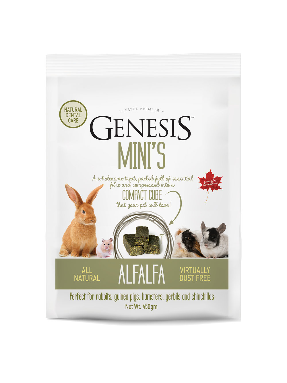 Genesis Mini's - Alfalfa - 100% ALL NATURAL SUN-CURED ALFALFA HAYThe perfect wholesome treat, packed full of essential fibre and compressed into a compact cube that your pet will love!