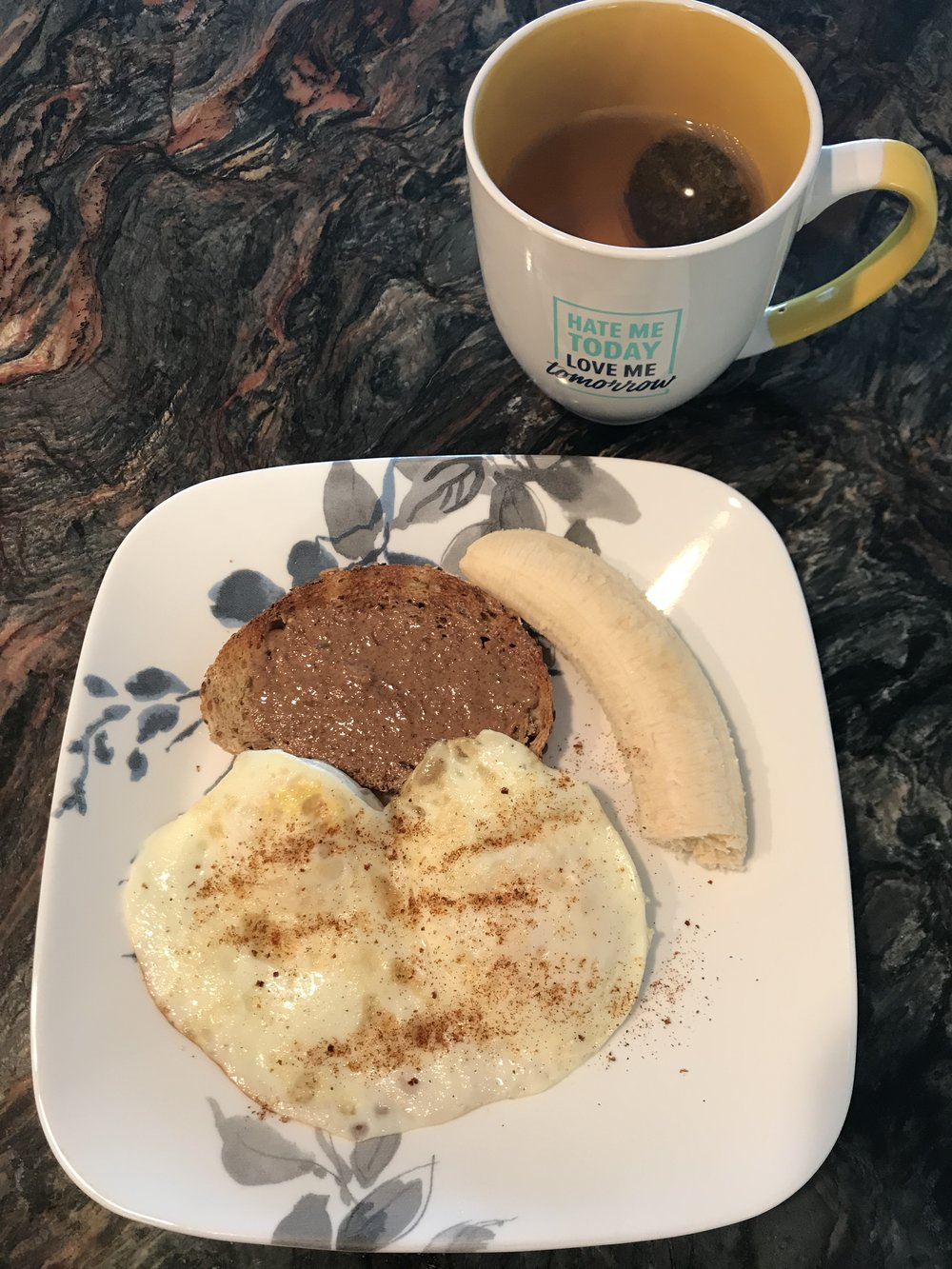 Breakfast - Multi-grain Bread (1 yellow), Almond Butter (1 tsp), 1 banana (2 purples), 2 fried eggs (1 red)