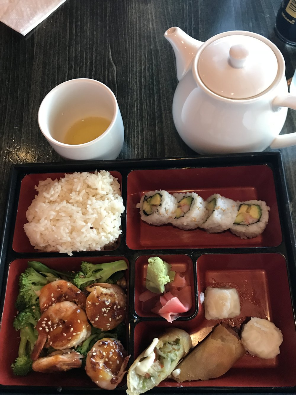 LUNCH - Went to JPan for their Teriyaki Shrimp Bento Box, which had Rice (which I did not eat), California Roll, Teriyaki Shrimp with Mixed Vegetables, Spring Roll, and Shrimp Dumplings. DELICIOUS!