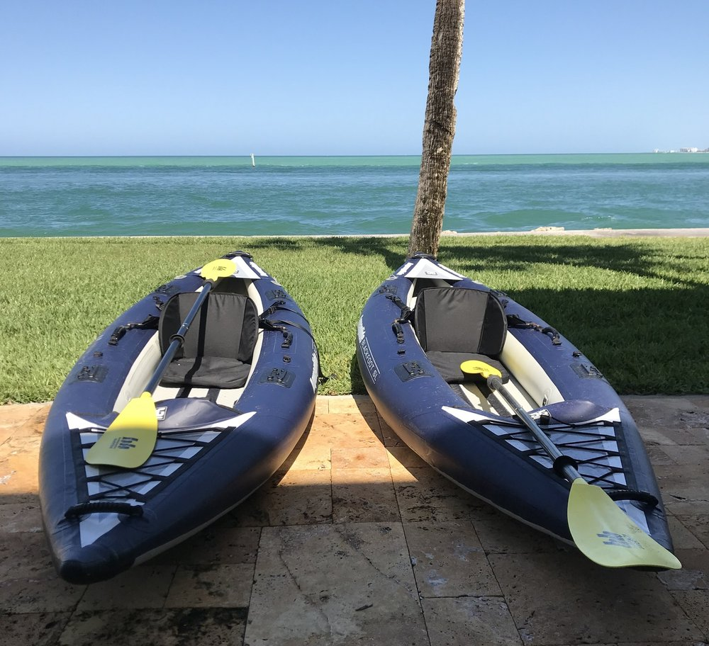 Our inflatable kayaks that we decided to use today to explore the sandbar in the Big Pass, Siesta Key, FL.