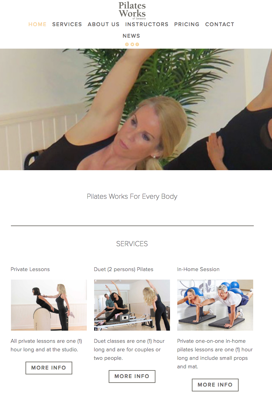 Pilates Works of Sarasota Website Project