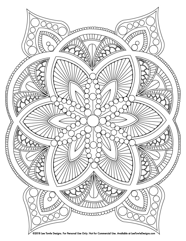 Abstract Mandala Advanced Coloring Page For Adults. This free coloring page is available for instant download at LeeTowleDesigns.com.