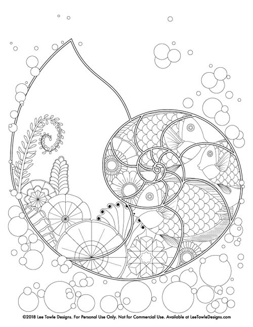 Fantasy Nautilus Underwater Scene Coloring Page for Adults - Free ...