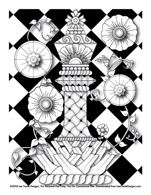 Fantasy King Chess Piece With Flowers Coloring Page For Adults This Free Is