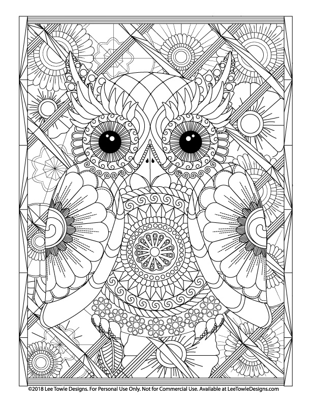 Advanced Coloring Page for Adults featuring a Zen Style Owl with large eyes, a mandala stomach, and a variety of flowers. Free coloring page available for instant download at LeeTowleDesigns.com.