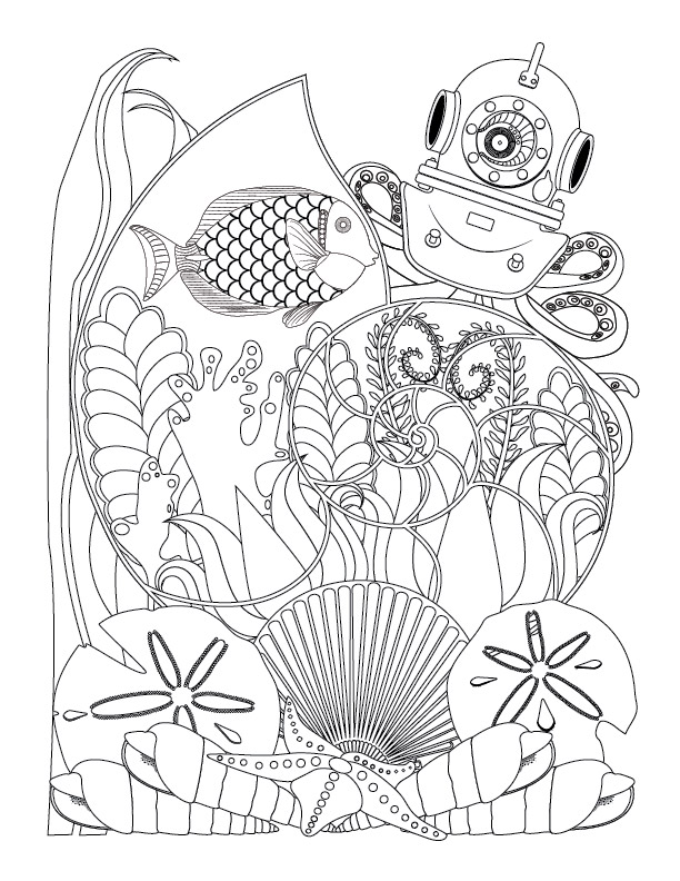 Fantasy Nautilus, Octopus and Assorted Seashells Coloring Page For Adults. This free coloring page is available for instant download at LeeTowleDesigns.com.