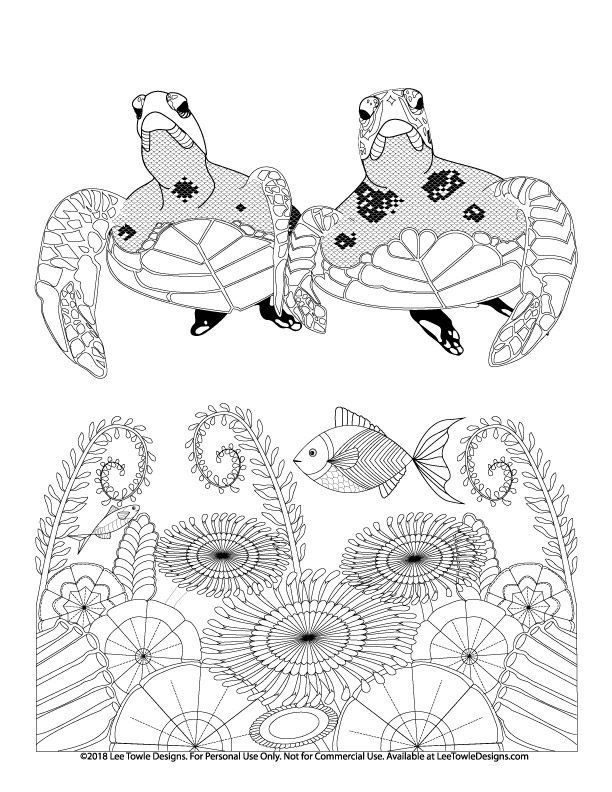 Sea Turtles swimming among ocean flowers and fish advanced Coloring Page For Adults. This free coloring page is available for instant download at LeeTowleDesigns.com.