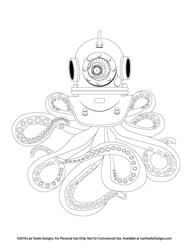 Antique Scuba Helmet Wearing Octopus Coloring Page. This free coloring page is available for instant download at LeeTowleDesigns.com.