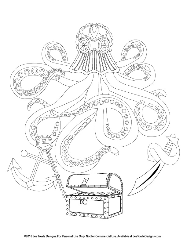 Octopus with a variety of Treasure Coloring Page For Adults. This free coloring page is available for instant download at LeeTowleDesigns.com.