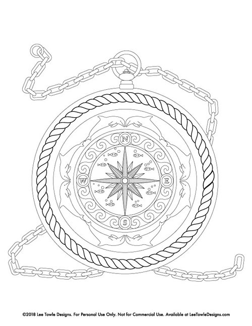 Fantasy Compass With Dolphins And Fish Coloring Page For Adults
