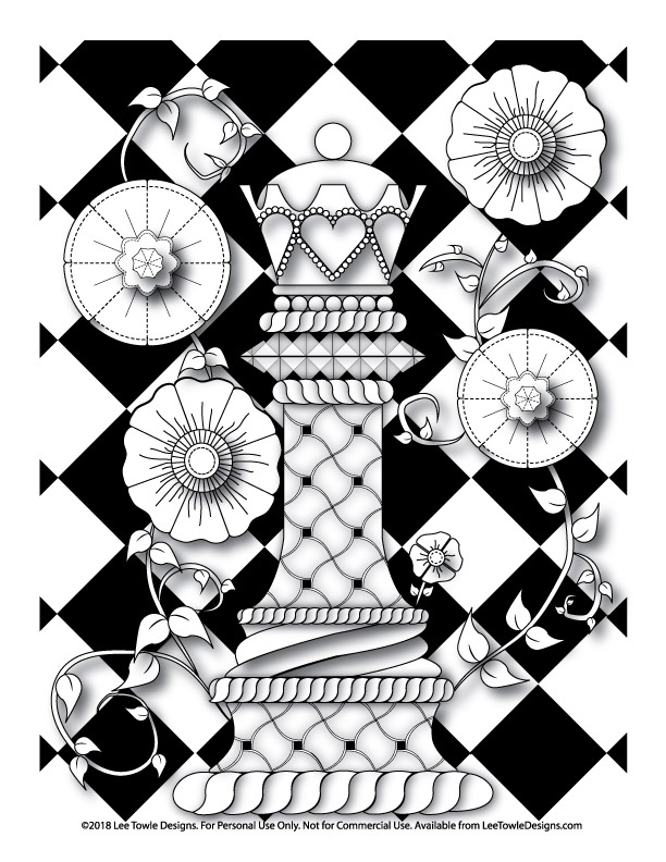 Fantasy Queen Chess Piece with Flowers Coloring Page For Adults. Free adult coloring page available at for instant download at LeeTowleDesigns.com. Print at your convenience.