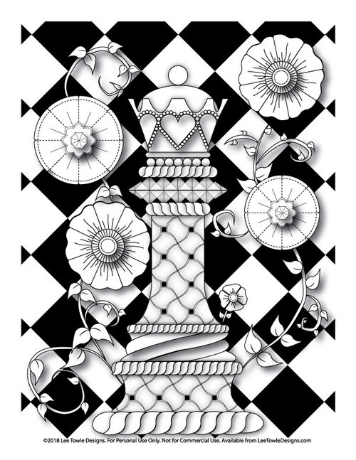 Queen Chess Piece With Flowers Coloring Page for Adults - Free ...