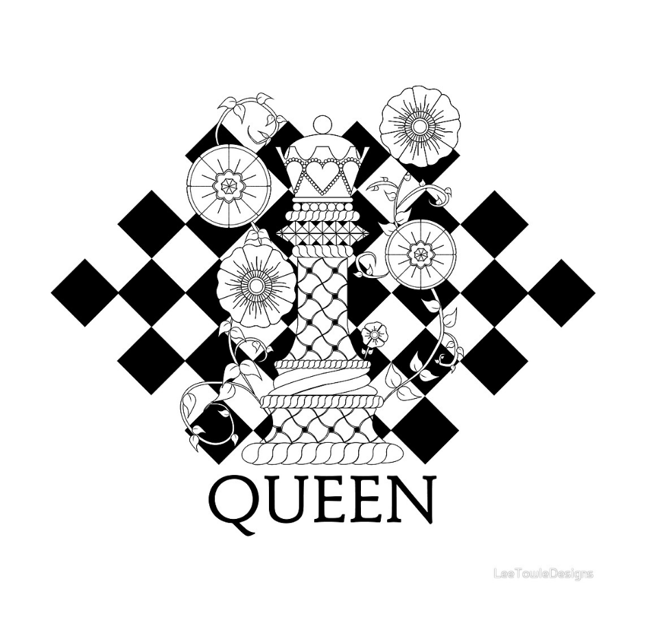 Black and White Queen Chess Piece Illustration available to print on a variety print wall art and home decor items through Fine Art America.