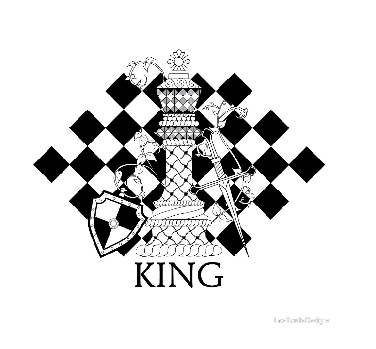 Black and White King Chess Piece Illustration available to print on a variety of print wall art and home decor items through Fine Art America.