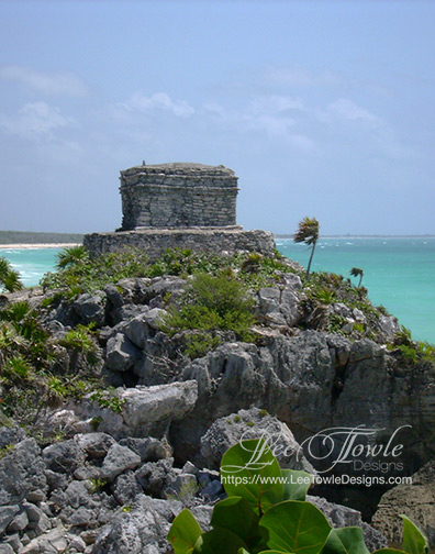 Beautiful nature photography of Tulum Mexico Mayan Ruins, building sitting on rocky edge overlooking a Gulf Of Mexico tropical beach. This nature photography is available on a variety of print wall art and home decor items through Fine Art America.