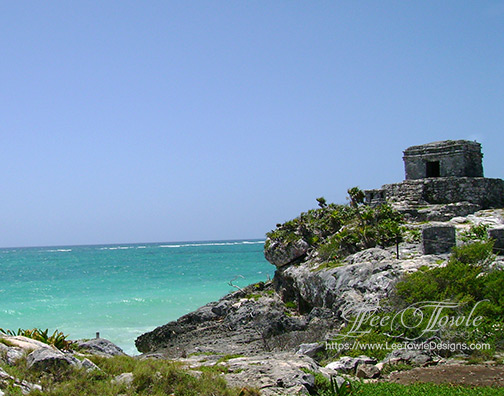 Beautiful nature photography of Mayan ruin building sitting on rocky edge overlooking the Gulf Of Mexico near Tulum, Mexico. This nature photography is available on a variety of print wall art and home decor items through Fine Art America.