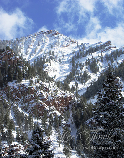 Snow covered Aspen Mountain reminiscent of a winter wonderland for Christmas. This nature photography is available to print on a variety of print wall art and home decor items through Fine Art America.