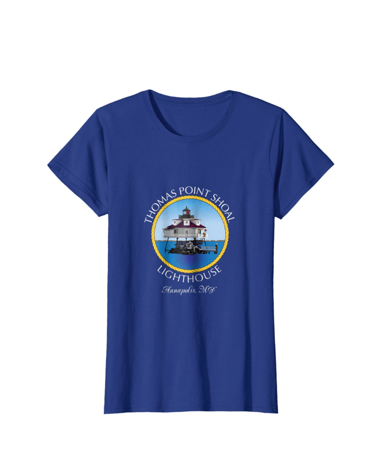 Digital Illustration Thomas Point Shoal Lighthouse T-shirt. Available on Amazon.com.