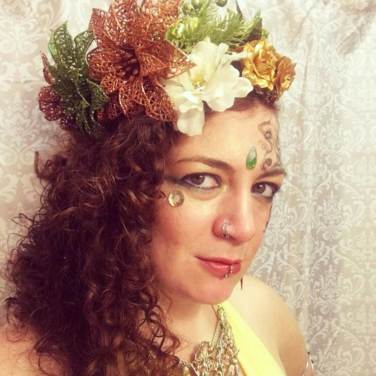 """Sarah Groomay  """"Sarah is a proudly non-compliant, queer, nerdy, Jew(ish) intersectional feminist. This writer/performer and activist is a Pittsburgh native. Sarah spends her free time on grass-roots sex- and consent-education endevours, non-traditional theatre performance, costuming, and creating wearable head art. IG:  @liminalandlicentious"""