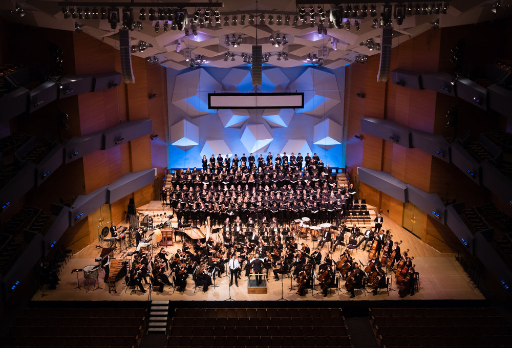 "World Premiere of ""The Path"" by Justin Merritt. St. Olaf Orchestra, Choir, Chapel Choir, and Soloists. Orchestra Hall, Minneapolis, 2018."