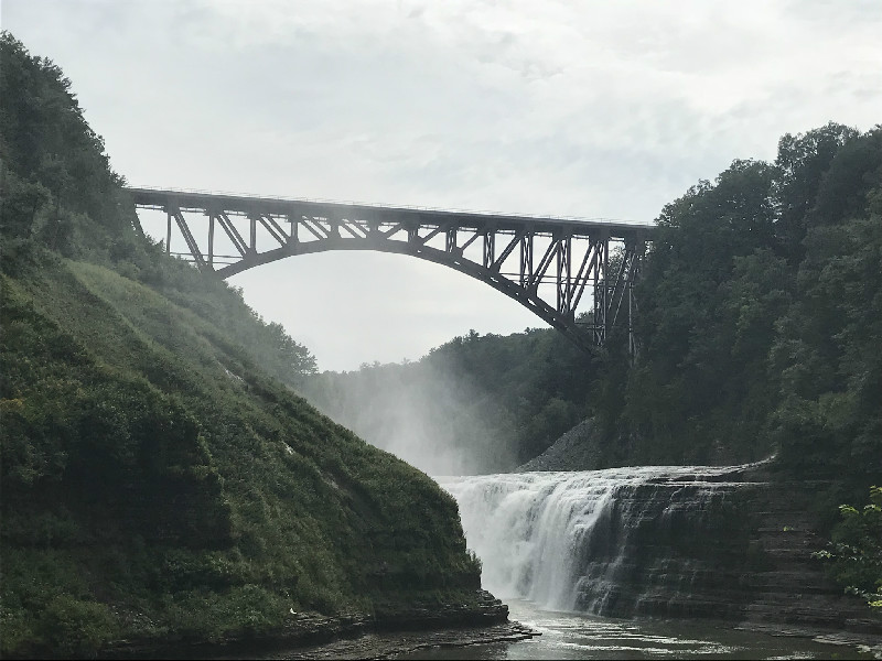 Letchworth State Park upper falls with railroad bridge