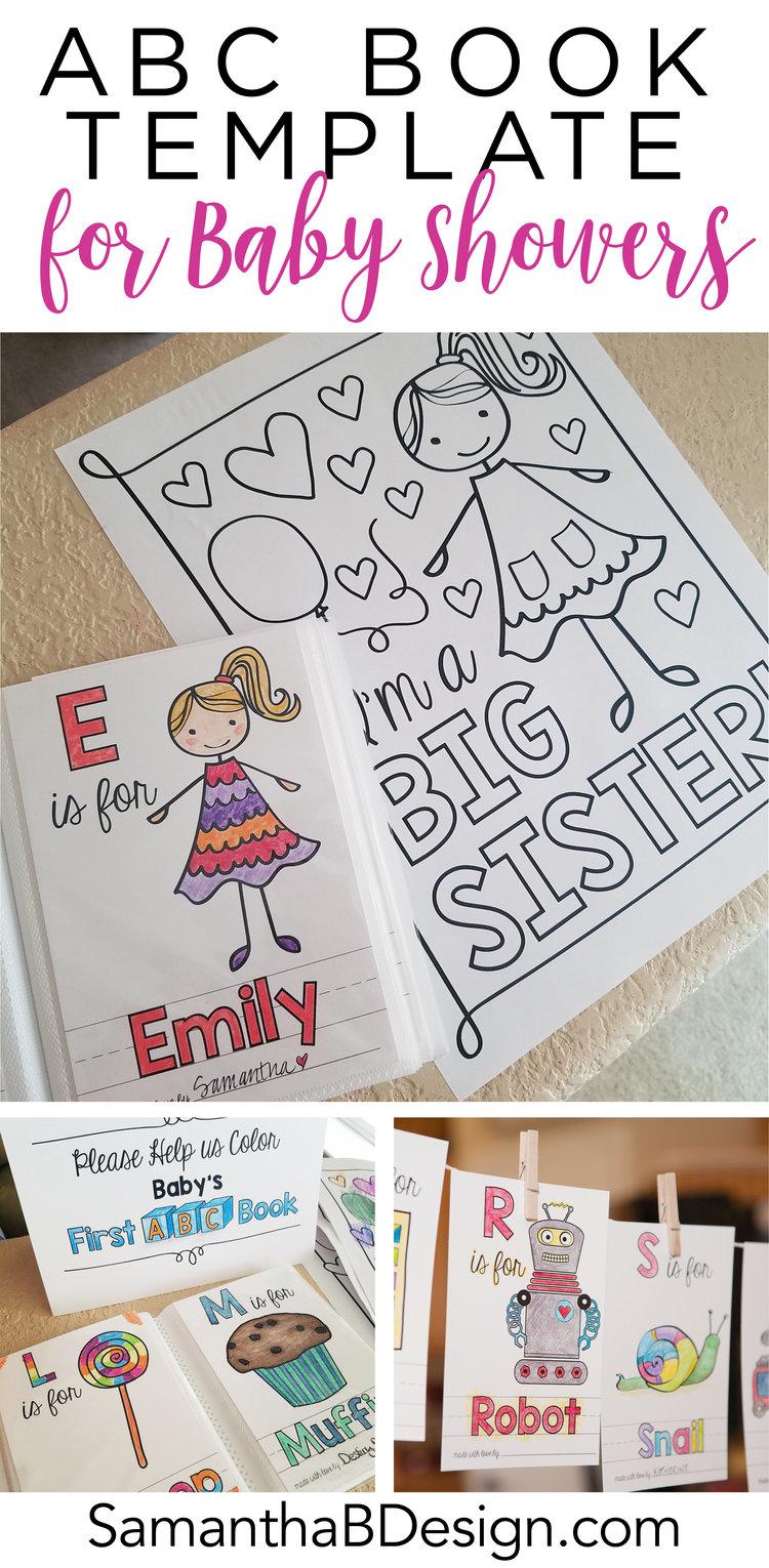 abc book template for a baby shower activity samantha b design