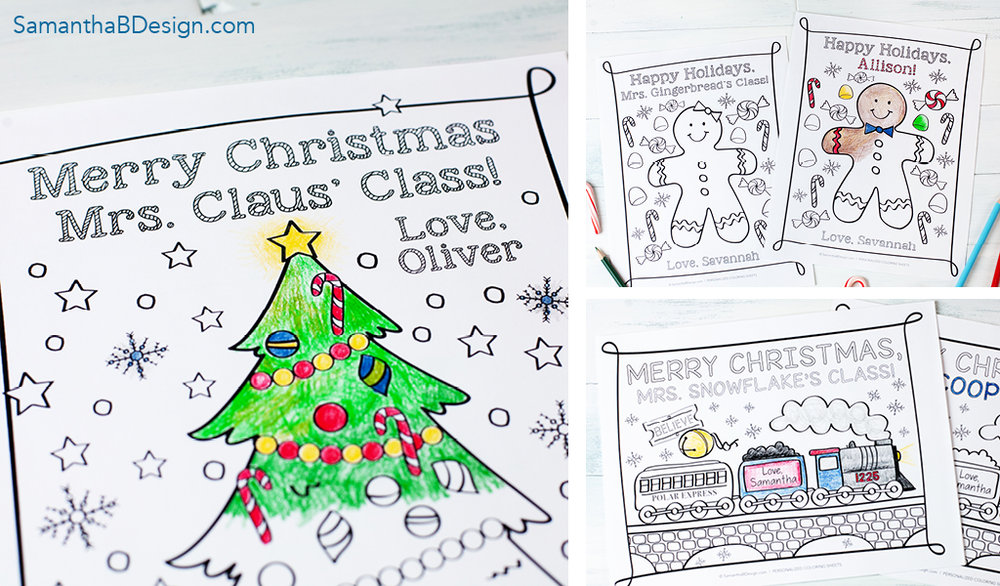 Personalized Holiday and Christmas Coloring Sheets from Samantha B Design