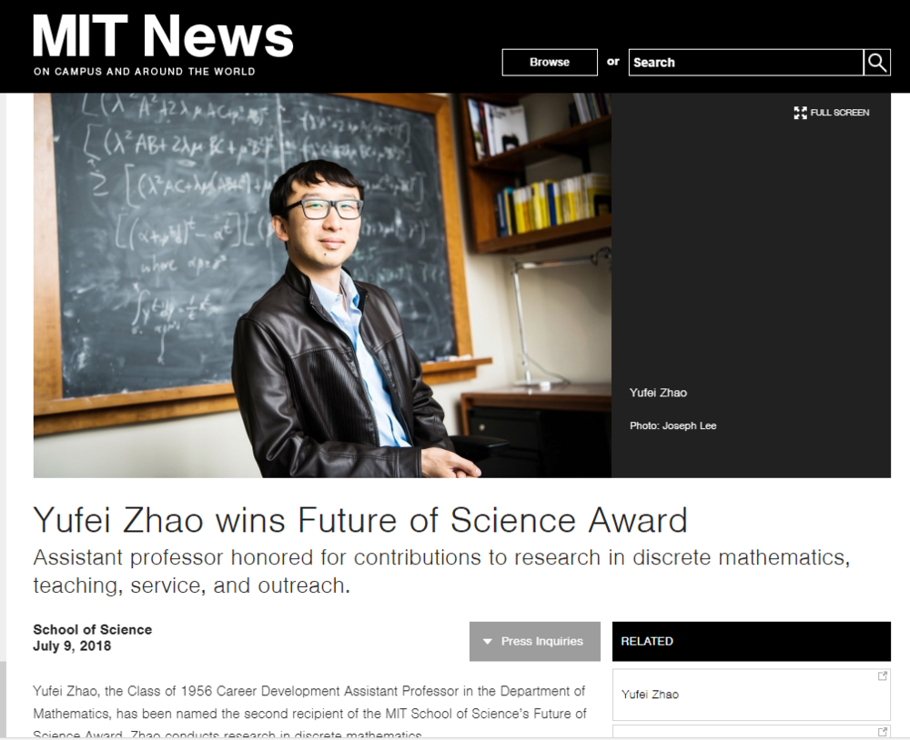 MIT Professor Yufei Zhao wins the FUTURE OF SCIENCE Award.  Read More Here >>