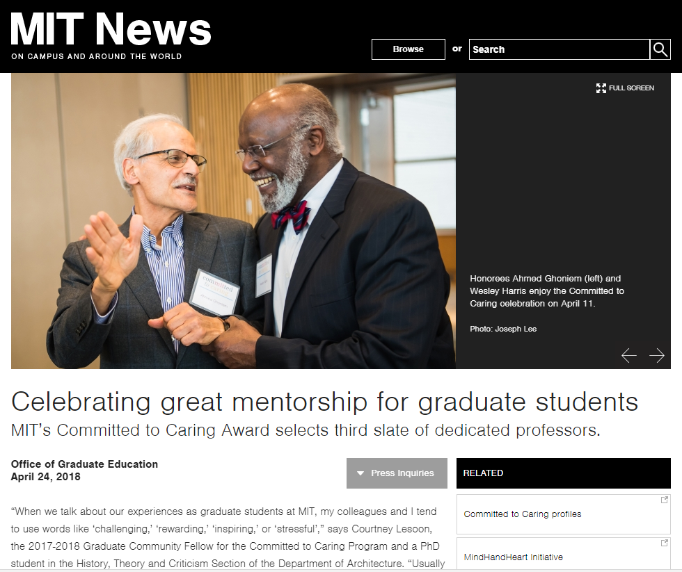 MIT's Office of Graduate Education honors professors.  Read More Here >>