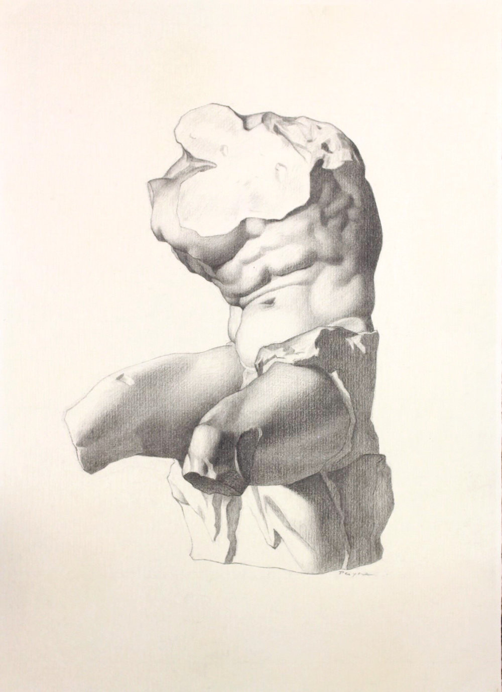 Study after Bargues'  Belvedere Torso , completed at the Florence Academy of Art, Florence.