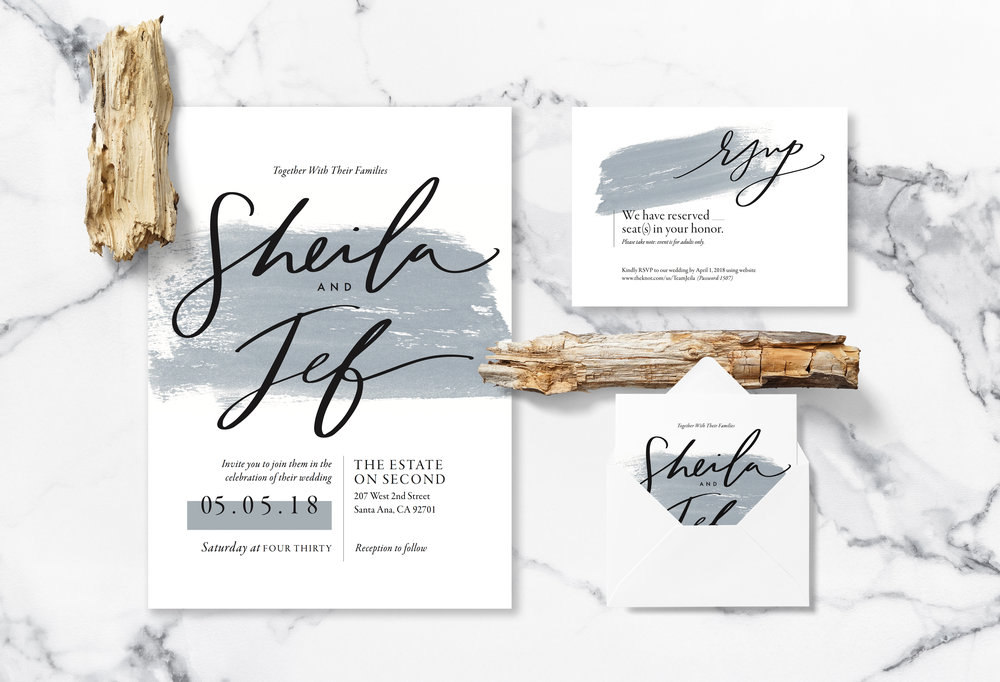 Wedding Invitations with Hand Lettering and Brush Detail