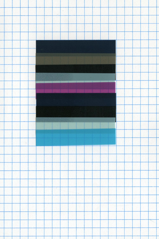 :mentalKLINIK LAZY WORKS 1701, 2017. Sticky page markers (foil transparent) on squared index card 10 x 15 cm. Image courtesy of Gallery Isabelle Van Den Eynde