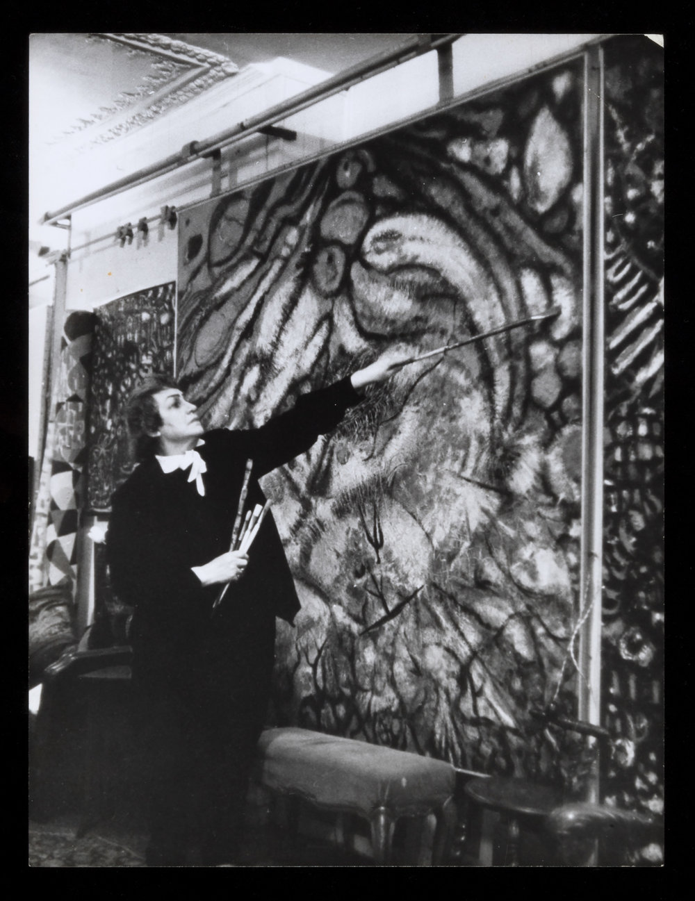 Fahrelnissa Zeid in her studio, Paris,c.1950s Courtesy of the Prince Raad Zeid Al-Hussein collection.