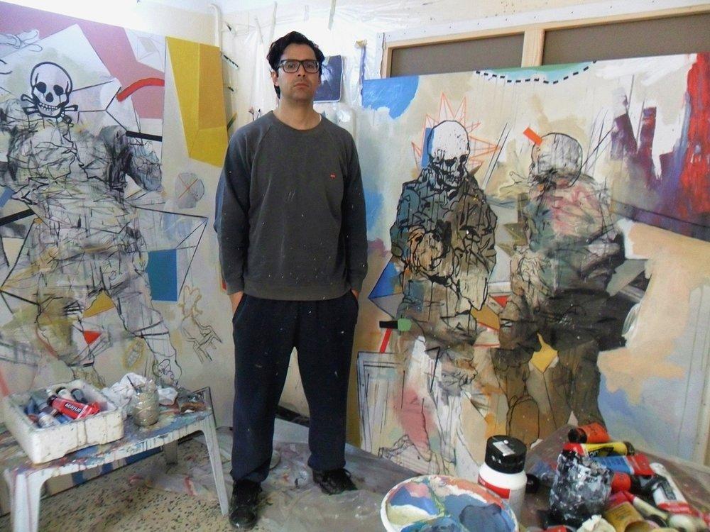 Thameur Mejri in his studio. Image courtesy of El Marsa Gallery