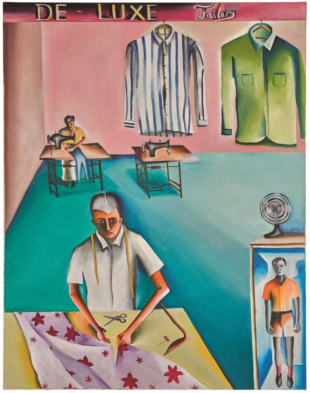Bhupen Khakhar. De-Luxe Tailors, 1972. Courtesy of Sotheby's and Howard Hodgkin estate.