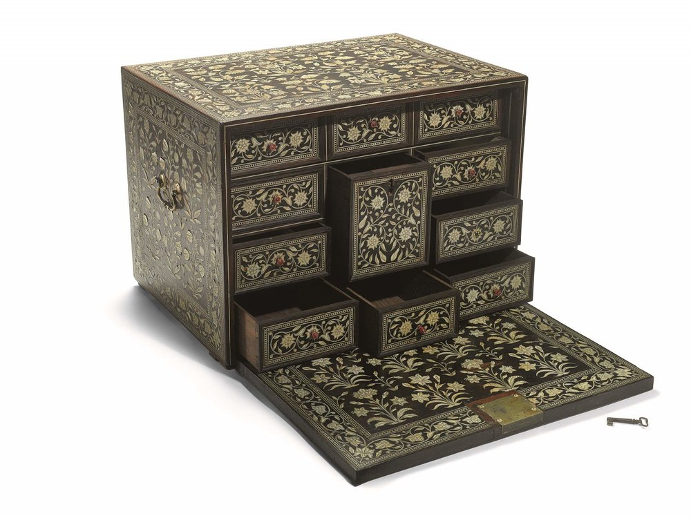 Mughal Ivory-Inlaid Wood Cabinet, North West India, circa 17th century. Courtesy of Sotheby's and Howard Hodgkin estate.