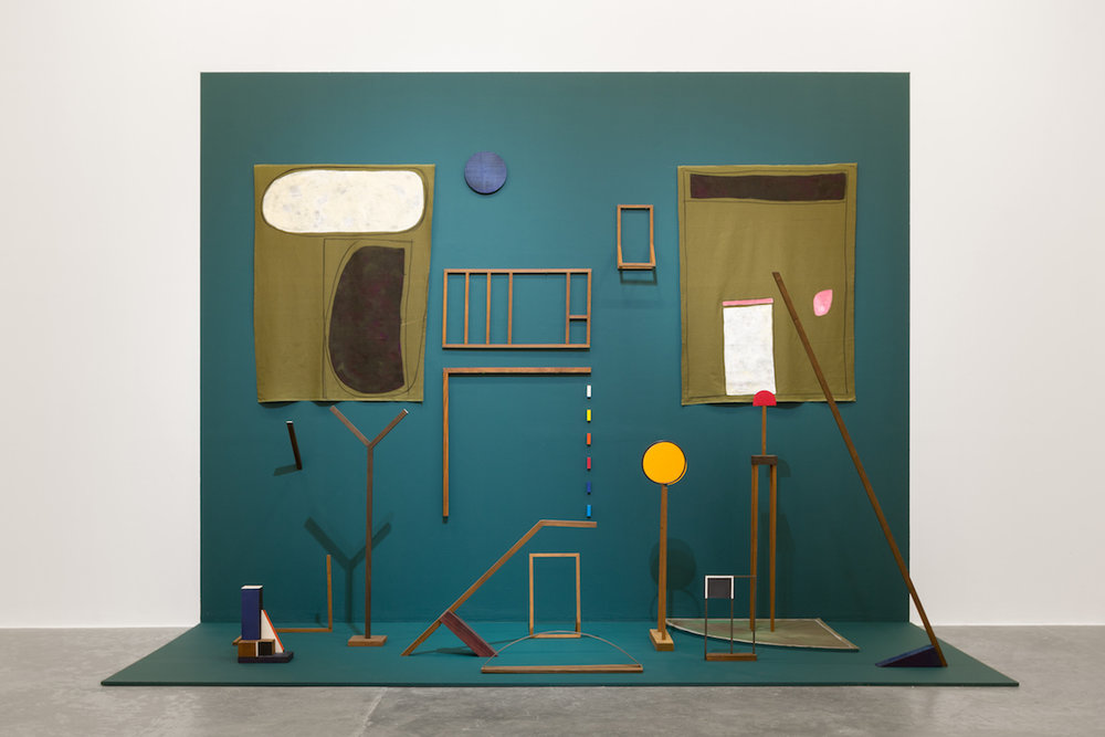 Ana Mazzei, Garden, 2017, Wood, painted wood, iron, felt, tempera on linen, acrylic on linen, 350 x 450 x 180 cm. Installation view. Courtesy of the artist and Green Art Gallery