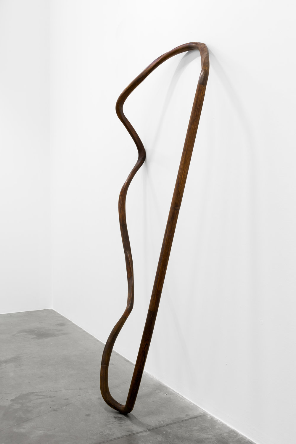 Nika Neelova, Lemniscate V (installation view), 2017, two flights of stairs and hardwood handrails, 320 x 100 x 50 cm. Courtesy of Artist and Green Art Gallery Dubai
