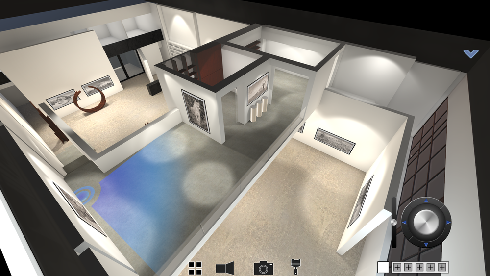 Digital view of Custot Gallery, Dubai, as rendered by Ikonospace to enable three-dimensional exhibition planning. Image courtesy of Ikonospace