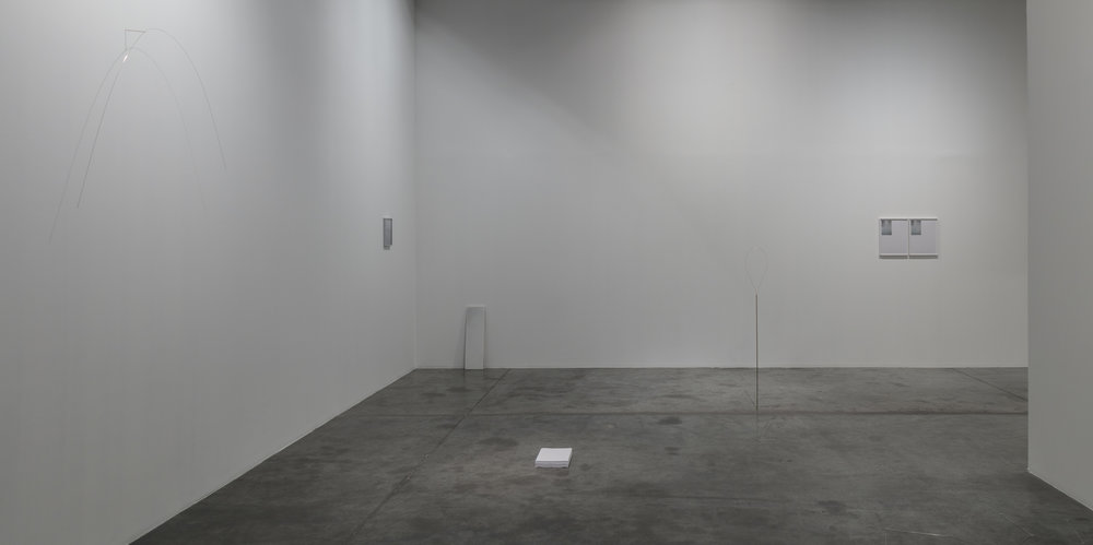 Installation view of Sand, an exhibition by Daniel Gustav Cramer & Joana Escoval at Grey Noise Gallery, Dubai. Sculpture top left is Healthy forests provide clean water, as mentioned in story below. Image courtesy of the artists and Grey Noise.