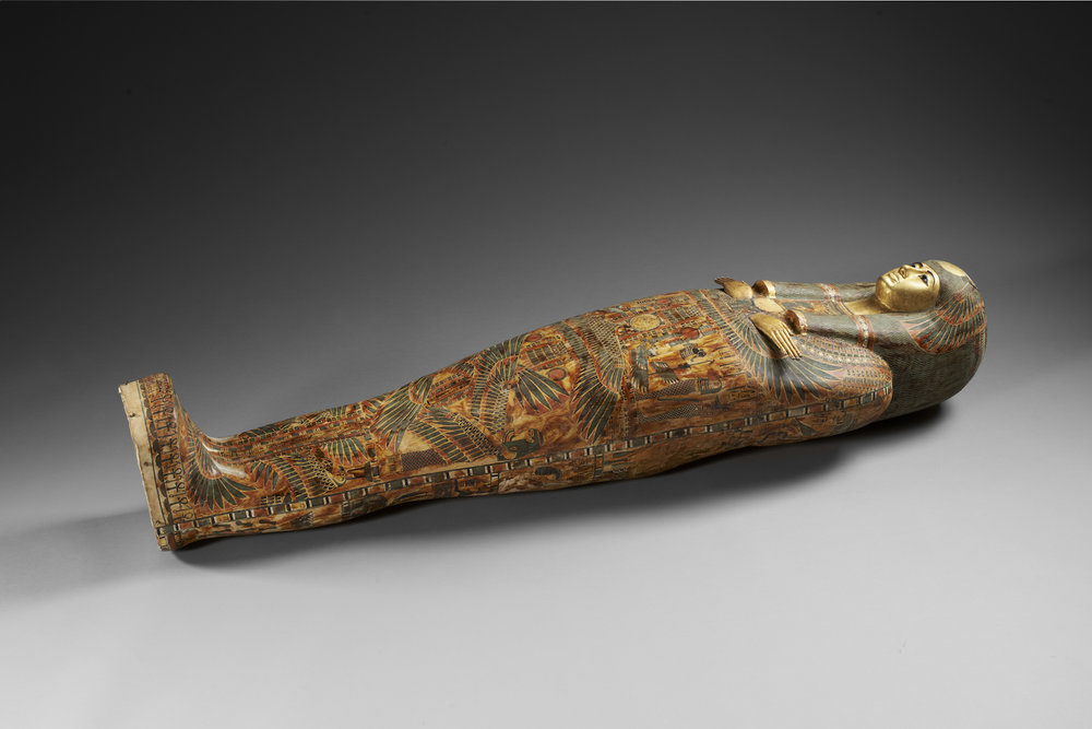 Funeral set of princess Henuttawy : cartonnage  Egypt, 2nd half of 10th century BCE-beginning of the 22th dynasty Wood with polychromy 163.0 x 38.0 x 31.0 cm Courtesy: Louvre Abu Dhabi / Thierry Ollivier