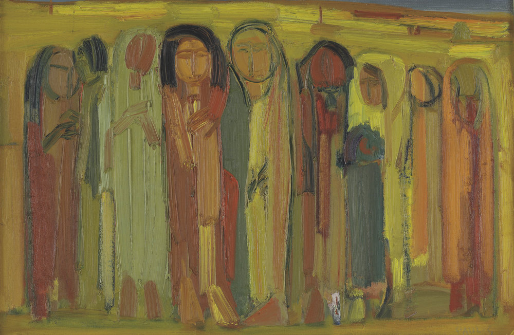 Paul Guiragossian. Figures (c.1965). Oil on canvas. 60 x 90 cm. From the collection of Fadi Moussalli. Courtesy of Barjeel Art Foundation.