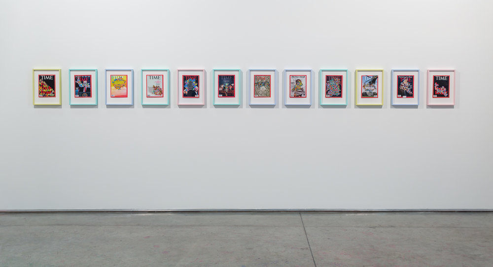 Installation view of custom-framed and embellished copies of Time Magazine. From the series Some-TIme, 2017. Image courtesy of Gallery Isabelle Van Den Eynde