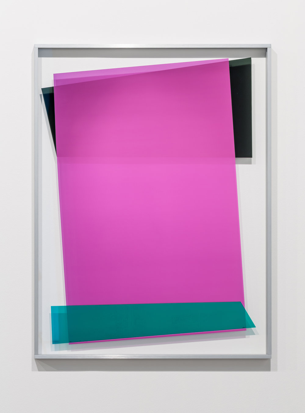 Self-Seeking-Superficials 1707, 2017. Ultra-clear tempered glass, micro-layered polyester solar films and artist's frame in eloxal coated aluminium. 121.5 x 91.5 cm. Courtesy of  the aGallery Isabelle Van Den Eynde.