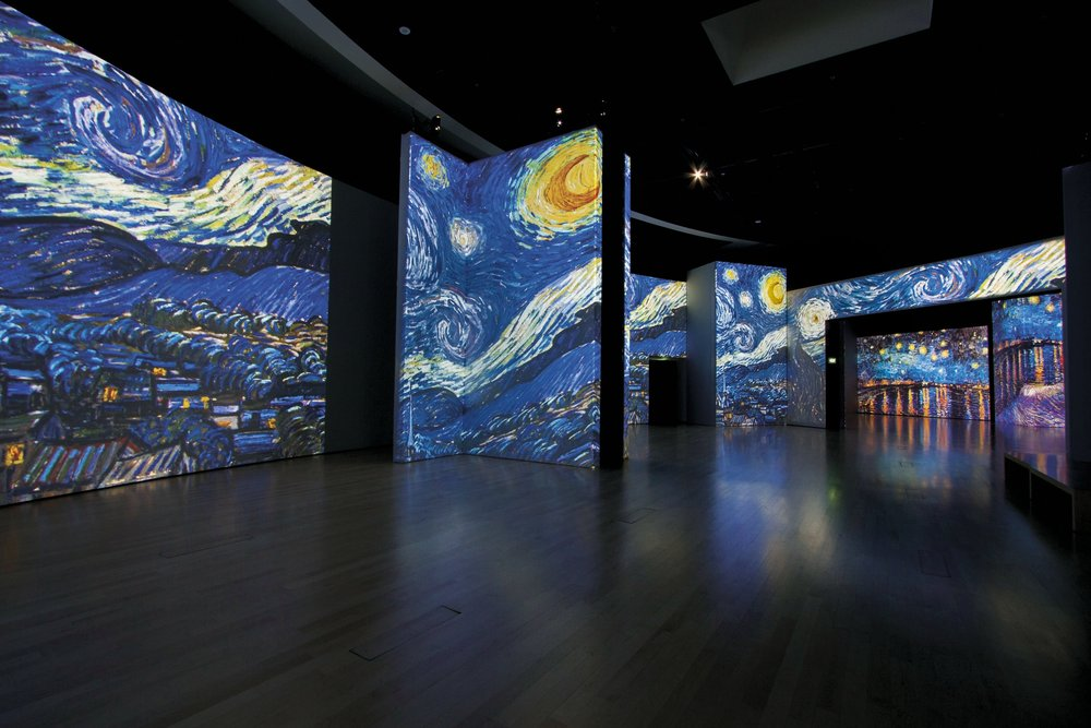 The Starry Night created in 1889 when the artist was a patient at an asylum at Saint-Remy-de-Provence is seen here cast on floor-to-ceiling screens by 40 high definition projectors.