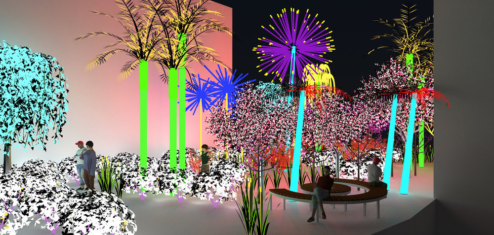 Contrary Life: A Botanical Light Garden Devoted to Trees (view at night). Courtesy of the artists Alia Farid and Aseel AlYaqoub.