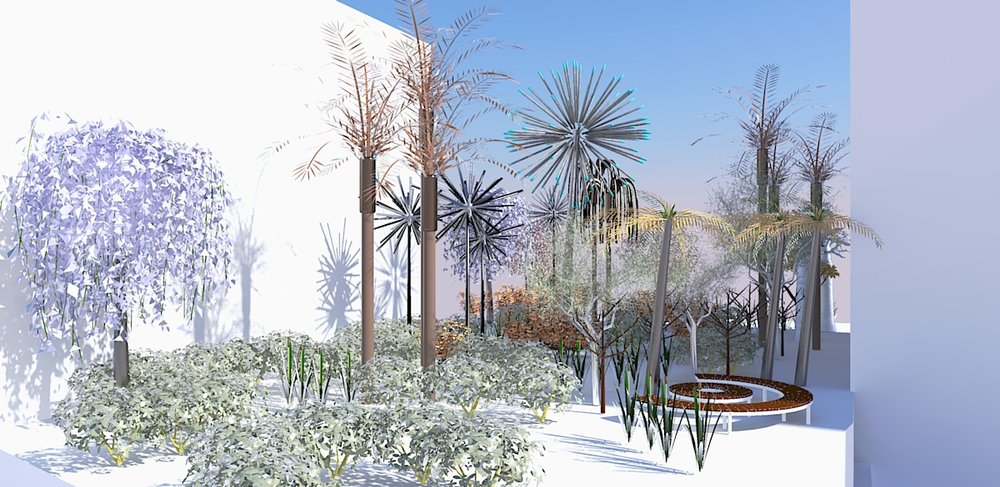 Contrary Life: A Botanical Light Garden Devoted to Trees (view in the daytime). Courtesy of the artists Alia Farid and Aseel AlYaqoub.