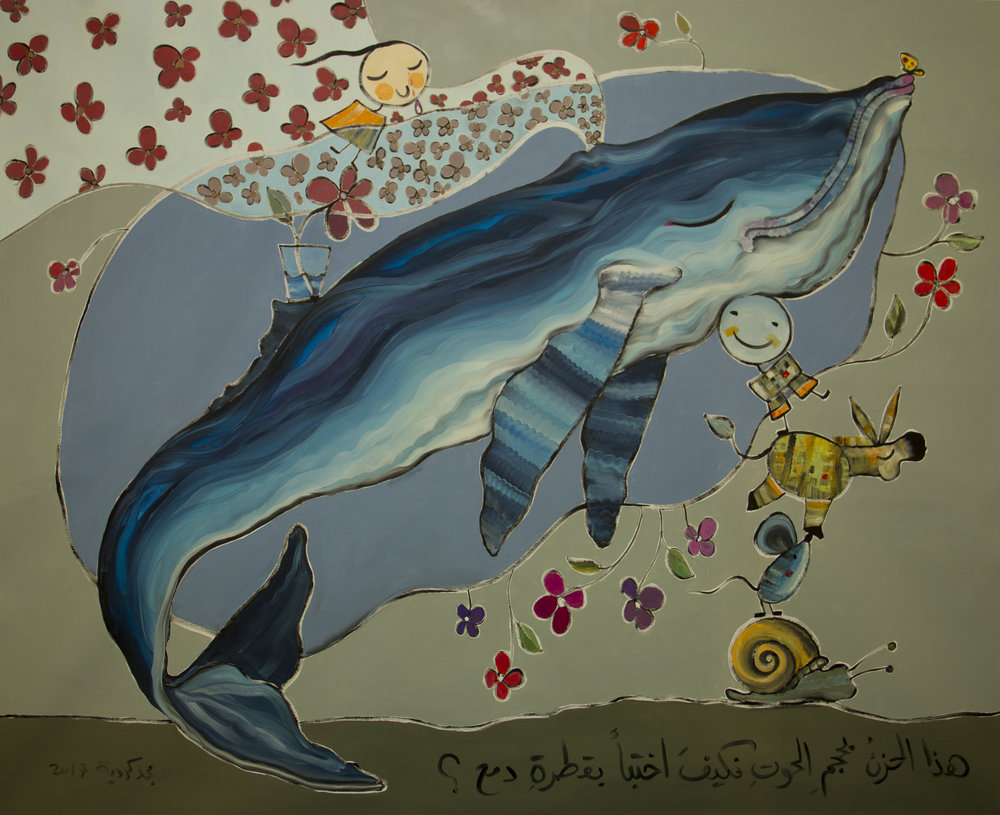 Painting by Majd Kurdieh from his #stealingsadness exhibition at The Workshop, Dubai. Image courtesy of The Workshop.