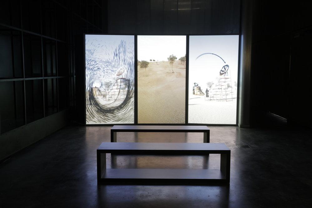 Shaikha Al Ketbi Ath'thaniyah video installation, part of Ishara exhibition. Image credit Musthafa Aboobacker. Courtesy UAE Unlimited and Alserkal Programming.